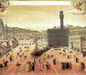 Rogo in Piazza della Signoria 23 maggio 1498